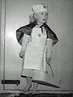 Little Gillian dressed as a nurse
